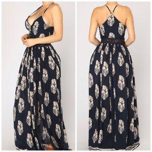 "Fashion Nova ""Holy Slit"" Crochet Waist Maxi Dress"